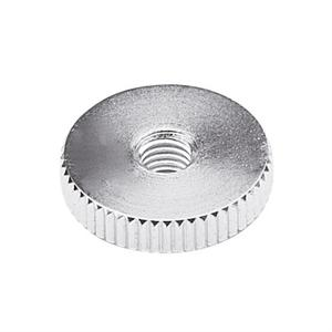 KNURLED METAL HANDWHEEL WITH SHORT BOSS THROUGH THREAD
