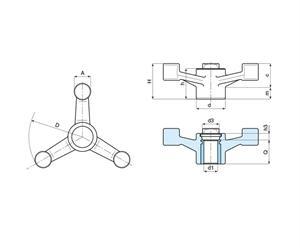 Picture of 3-ARM CONTROL HANDWHEEL THROUGH THREAD