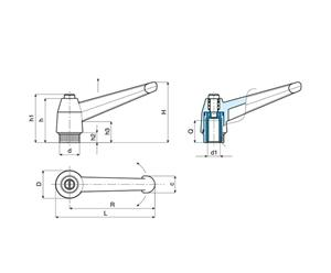 Picture of INDEXED CLAMPING LEVER FEMALE THREAD