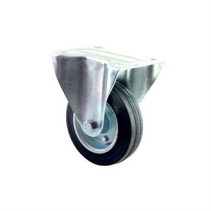 INDUSTRIAL SWIVEL & FIXED CASTOR 50-205kg BLACK RUBBER ON STEEL TOP PLATE OR BOLT HOLE FIXING