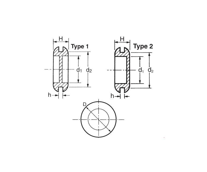19mm 49mm Diameter Black Pvc Diaphragm Grommets