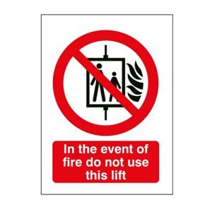 210x148mm In Event Of Fire Do Not Use Lift