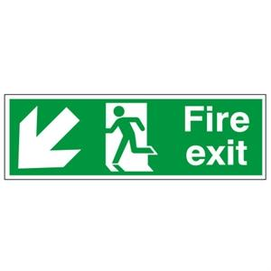 150x450mm Fire Exit (Symbol) Arrow Down Left