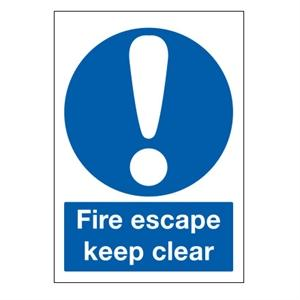 400x300mm Fire Escape Keep Clear