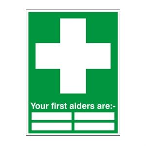 400x300mm Your First Aiders Are: