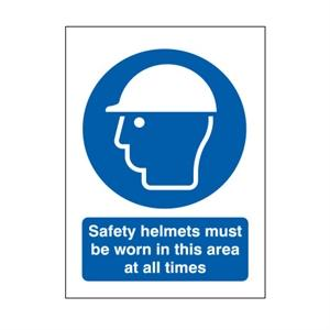 210x148mm Safety Helmets Must Be Worn In This Area