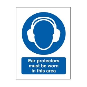 600x450mm Ear Protectors Must Be Worn In This Area