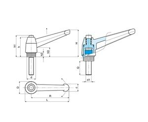Picture of INDEXED CLAMPING LEVER WITH PUSH BUTTON MALE