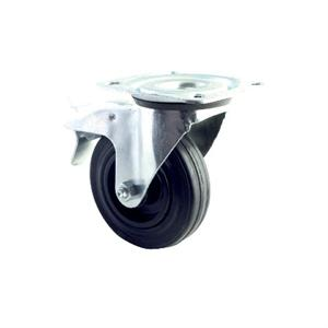 INDUSTRIAL SWIVEL & FIXED CASTOR 50-205kg BLACK RUBBER TOP PLATE OR BOLT HOLE FIXING