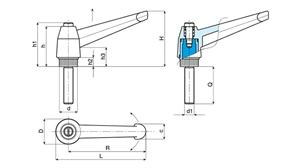 Picture of INDEXED CLAMPING LEVER WITH PUSH BUTTON - MALE THREAD
