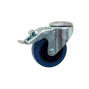 INDUSTRIAL SWIVEL & FIXED CASTOR 50-350kg BLUE RUBBER TOP PLATE OR BOLT HOLE FIXING